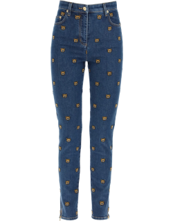 MOSCHINO ALL-OVER TEDDY BEAR EMBROIDERED DENIM JEANS 42 Blue Cotton, Denim