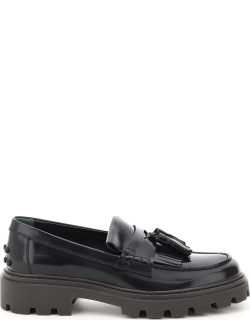 TOD'S LOAFERS WITH FRINGE AND TASSELS 38 Black Leather