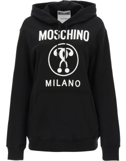 MOSCHINO DOUBLE QUESTION MARK HOODIE 42 Black, White Cotton