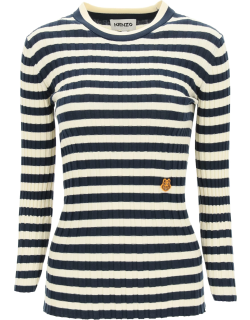 KENZO STRIPED SWEATER TIGER CREST PATCH M White, Blue Cotton