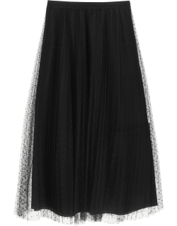 RED VALENTINO PLEATED SKIRT IN POINT D'ESPRIT TULLE 42 Black