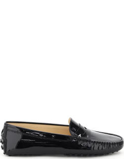 TOD'S GOMMINI PATENT LOAFERS 38 Black Leather