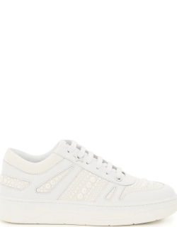 JIMMY CHOO HAWAII SNEAKERS WITH PEARLS 38 White Leather, Technical