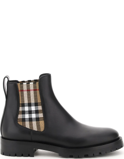 BURBERRY CHELSEA BOOTS WITH CHECK INSERTS 38 Black, Beige Leather