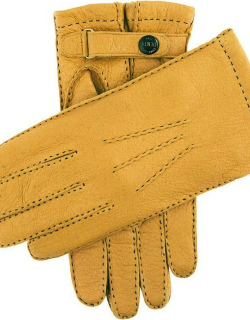 Dents Men's Handsewn Vicuña Lined Peccary Leather Gloves In Cork