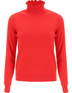 SEE BY CHLOE RUCHED NECK SWEATER M Red Cotton