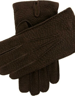 Dents Men's Cashmere Lined Carpincho Leather Gloves In Dark Brown