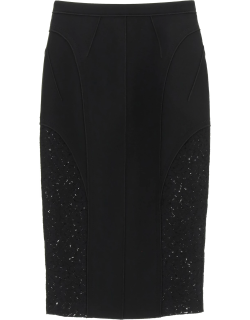 N.21 MIDI PENCIL SKIRT WITH LACE 44 Black Technical