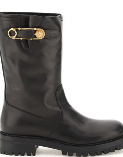 VERSACE BIKER BOOTS WITH MEDUSA SAFETY PIN 38 Black Leather