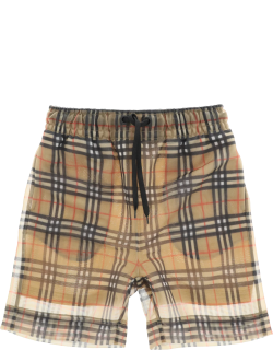 BURBERRY TAWNEY CHECK MESH SHORTS M Beige, Red, Black Technical