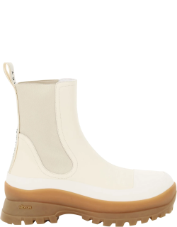 STELLA McCARTNEY TRACE CHELSEA BOOTS 38 White, Beige Synthetic