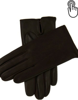 Dents Men's Unlined Touchscreen Leather Gloves In Brown