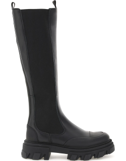 GANNI LEATHER HIGH CHELSEA BOOTS 38 Black Leather