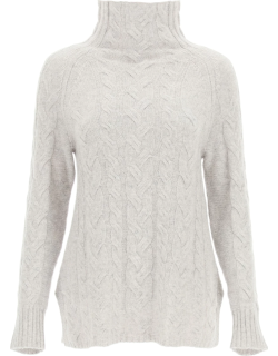 'S MAX MARA HAZEL CABLE KNIT SWEATER S Grey Cashmere, Wool