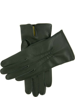 Dents Men's Cashmere Lined Deerskin Leather Gloves In Hunter (Yellow)