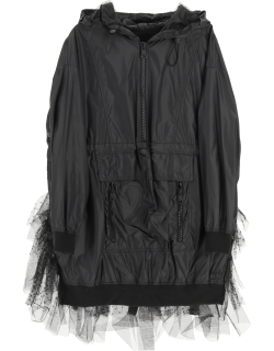 RED VALENTINO NYLON AND TULLE POINT D'ESPRIT JACKET 42 Black Technical