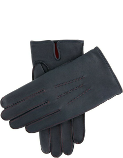 Dents Men's Cashmere Lined Leather Gloves With Contrasting Detail In Navy/red (Red)