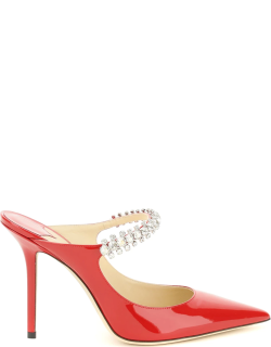 JIMMY CHOO BING 100 MULES 39 Red Leather