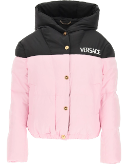 VERSACE TWO-TONE DOWN JACKET WITH LOGO 42 Pink, Black Technical