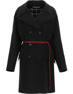 MARNI WOOL AND CASHMERE PEA COAT WITH BELT 40 Black Wool, Cashmere