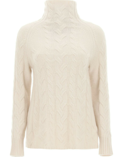 'S MAX MARA HAZEL CABLE KNIT SWEATER S Beige Cashmere, Wool