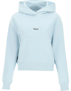 WOOLRICH HOODIE WITH LOGO S Light blue Cotton