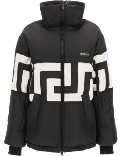 VERSACE DOWN JACKET WITH GRECA 42 Black, White Technical
