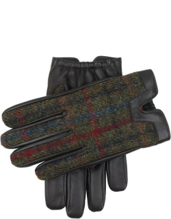 Dents Men's Cashmere Lined Harris Tweed And Hairsheep Leather Gloves In Brown/sage/pine
