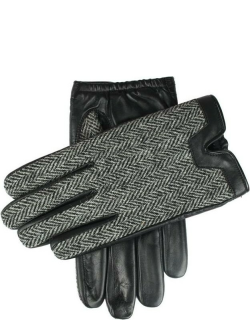 Dents Men's Cashmere Lined Harris Tweed And Hairsheep Leather Gloves In Black/charcoal/black