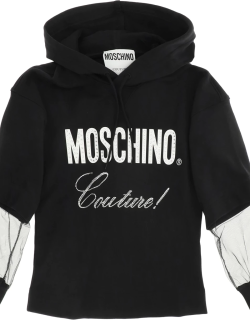 MOSCHINO MOSCHINO COUTURE SWEATSHIRT WITH TULLE INSERTS 40 Black, White Cotton