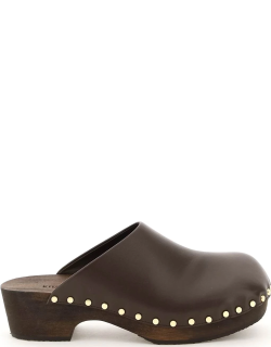 KHAITE LUCCA LEATHER CLOGS 37 Brown Leather