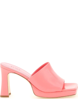 BY FAR LEATHER BELIZ MULES 37 Pink Leather