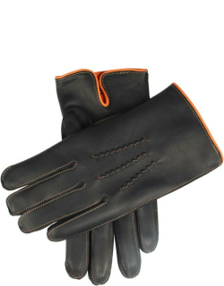 Dents Men's Cashmere Lined Leather Gloves With Contrasting Detail In Black/tangerine/tangerine (Tangerine)