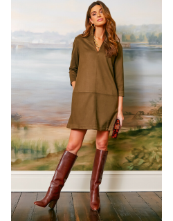 Olive Suede Stretch Clifton Dress