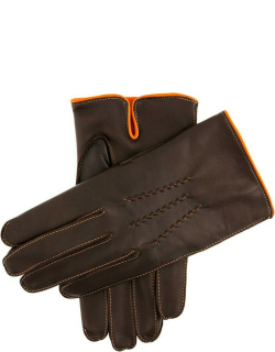 Dents Men's Cashmere Lined Leather Gloves With Contrasting Detail In Brown/tangerine/tangerine (Tangerine)