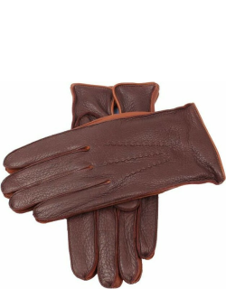 Dents Men's Lambswool Lined Deerskin Leather Gloves With Contrast Side Walls In Bark/tobacco