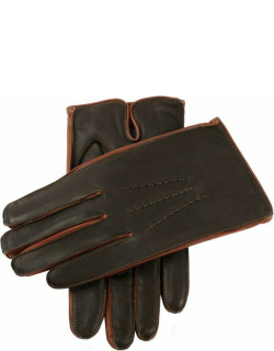 Dents Men's Cashmere Lined Leather Gloves With Contrast Details In Brown
