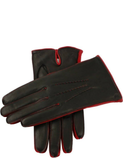 Dents Men's Cashmere Lined Leather Gloves With Contrast Details In Navy/fireball/red