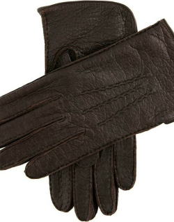 Dents Men's Silk Lined Peccary Leather Gloves In Bark