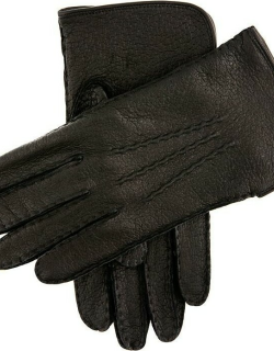 Dents Men's Silk Lined Peccary Leather Gloves In Black