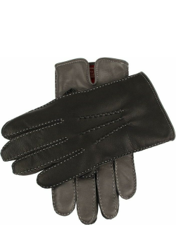 Dents Men's Cashmere Lined Leather Contrast Gloves In Grey/black/grey (Red)