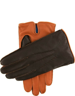 Dents Men's Cashmere Lined Leather Contrast Gloves In High Tan/brown/tan (Blue)