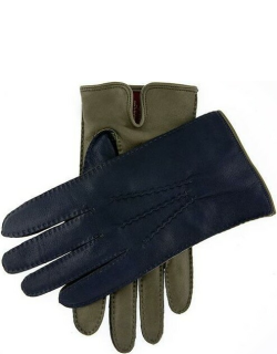 Dents Men's Cashmere Lined Leather Contrast Gloves In Willow/oxford Blue/red
