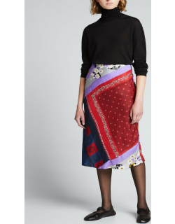 One-of-a-Kind Patchwork Scarf Silk Midi Skirt