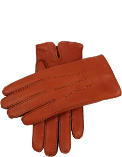 Dents Men's Handsewn Cashmere Lined Leather Gloves In High Tan/hunter