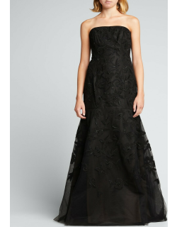 Floral-Embroidered Beaded Trumpet Strapless Gown