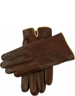 Dents Men's Cashmere Lined Leather Gloves With Contrasting Detail In Eng Tan/yellow