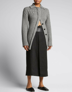 Cable-Knit Wool Cardigan Jacket