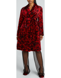 Rose-Print Quilted Coat