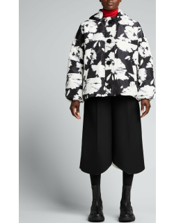 Floral-Print Hooded Puffer Jacket